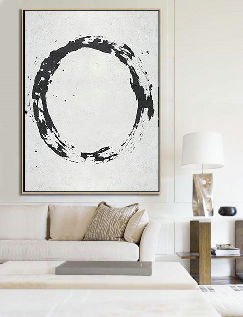 Geometric Art Black And White Minimal Painting On Canvas,Oversized Art #F9L2